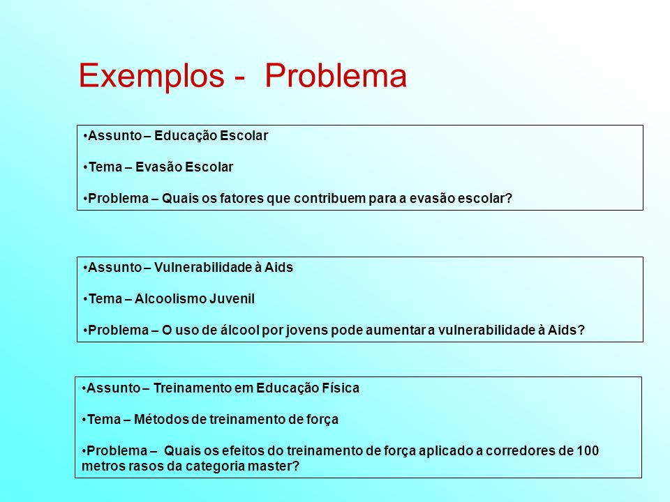 Exemplos - Problema Assunto – Educação Escolar Tema – Evasão Escolar