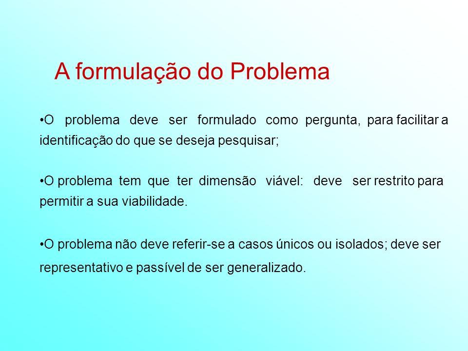 A formulação do Problema