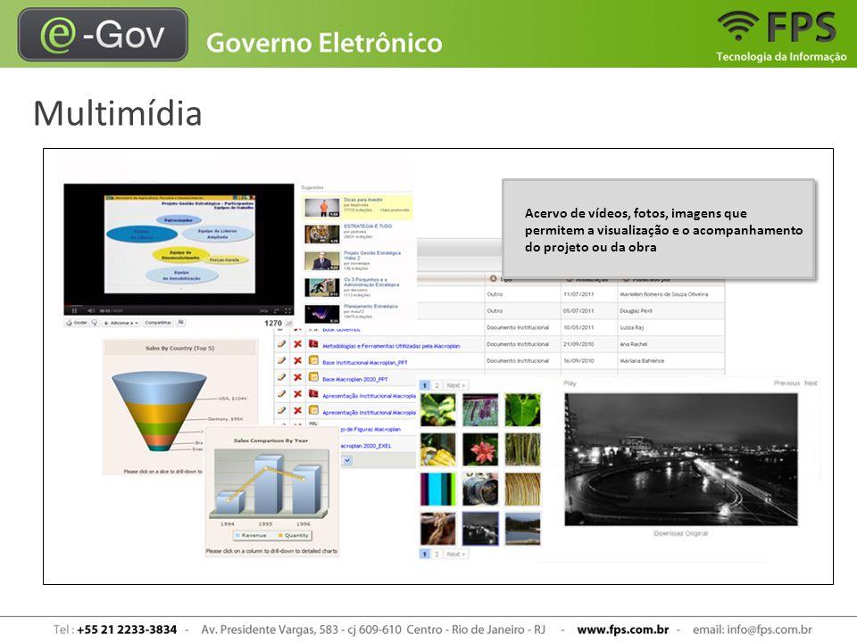 Multimídia Acervo de vídeos, fotos, imagens que permitem a visualização e o acompanhamento do projeto ou da obra.