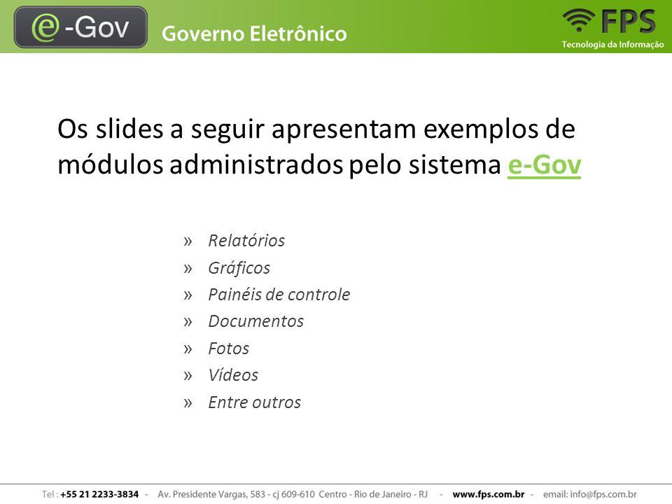 Os slides a seguir apresentam exemplos de módulos administrados pelo sistema e-Gov