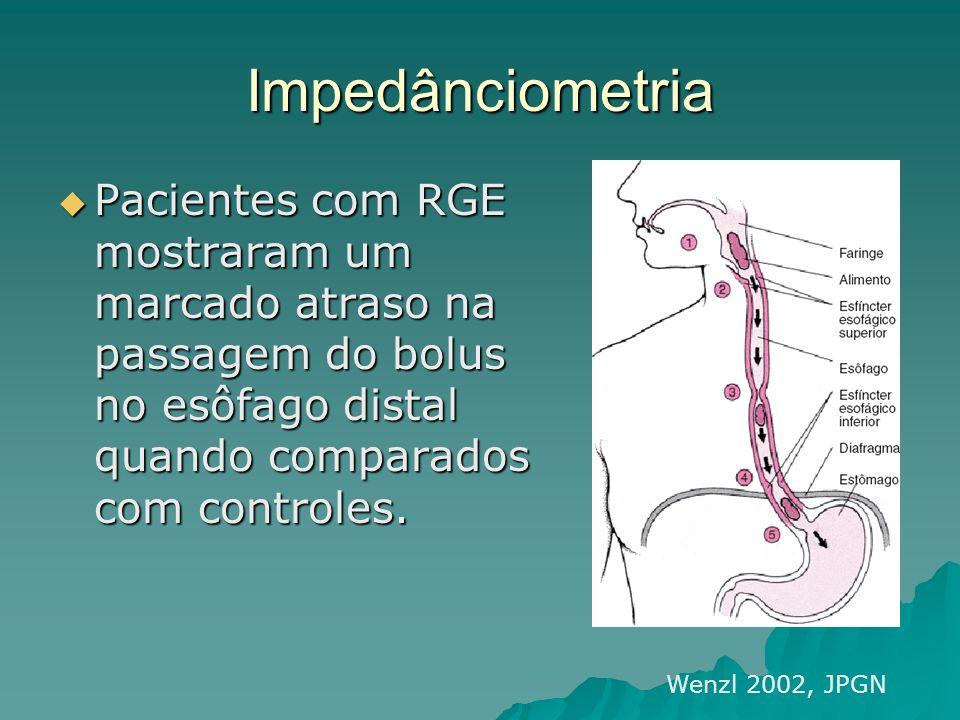 Impedânciometria Pacientes com RGE mostraram um marcado atraso na passagem do bolus no esôfago distal quando comparados com controles.