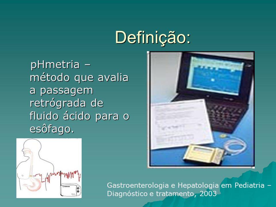 Definição: pHmetria – método que avalia a passagem retrógrada de fluido ácido para o esôfago.