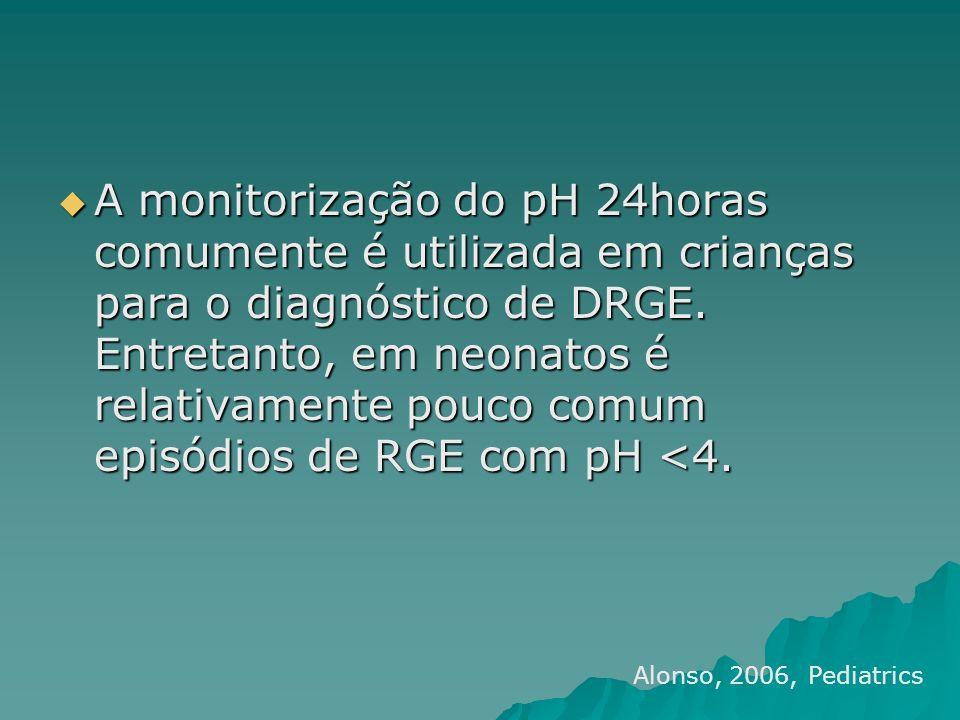 A monitorização do pH 24horas comumente é utilizada em crianças para o diagnóstico de DRGE. Entretanto, em neonatos é relativamente pouco comum episódios de RGE com pH <4.