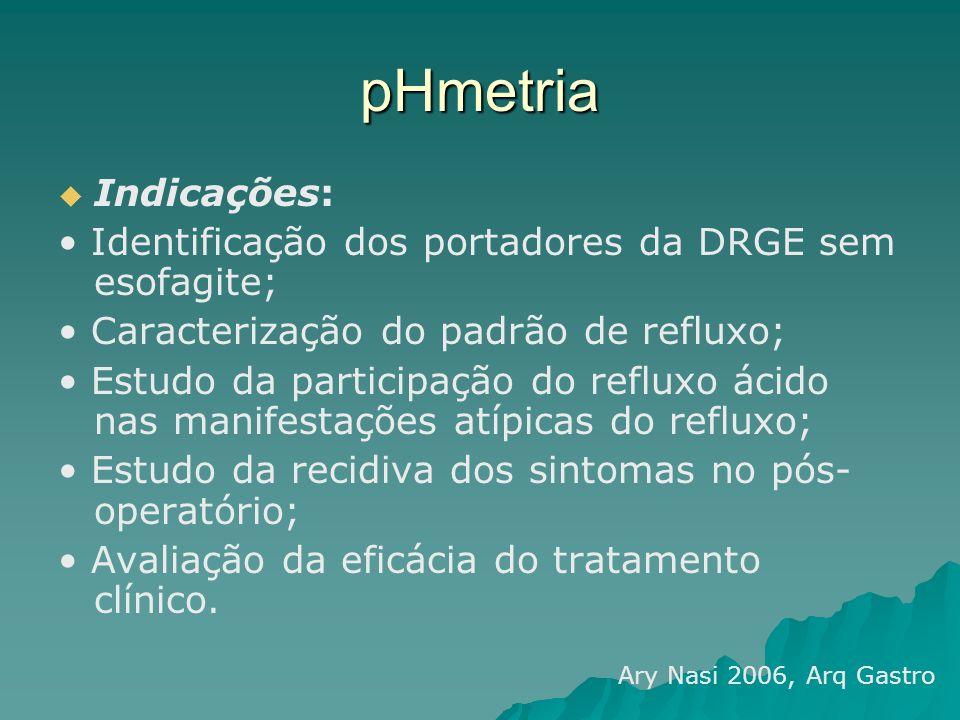 pHmetria Indicações: • Identificação dos portadores da DRGE sem esofagite; • Caracterização do padrão de refluxo;