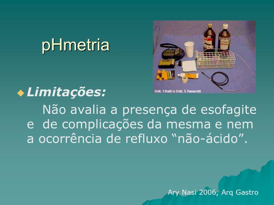 pHmetria Limitações: Não avalia a presença de esofagite e de complicações da mesma e nem a ocorrência de refluxo não-ácido .