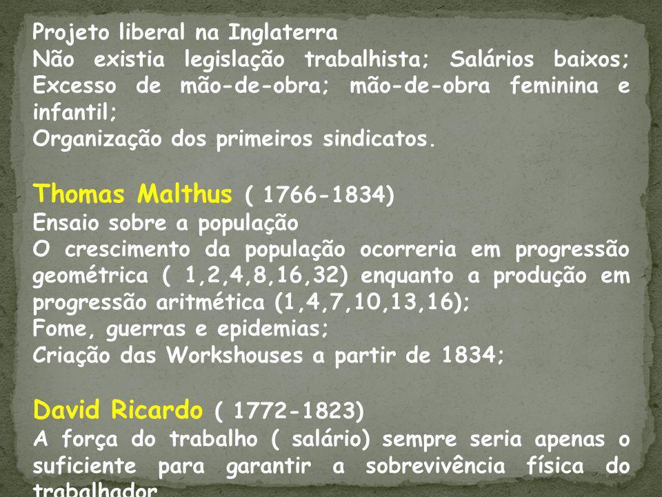 Thomas Malthus ( 1766-1834) David Ricardo ( 1772-1823)
