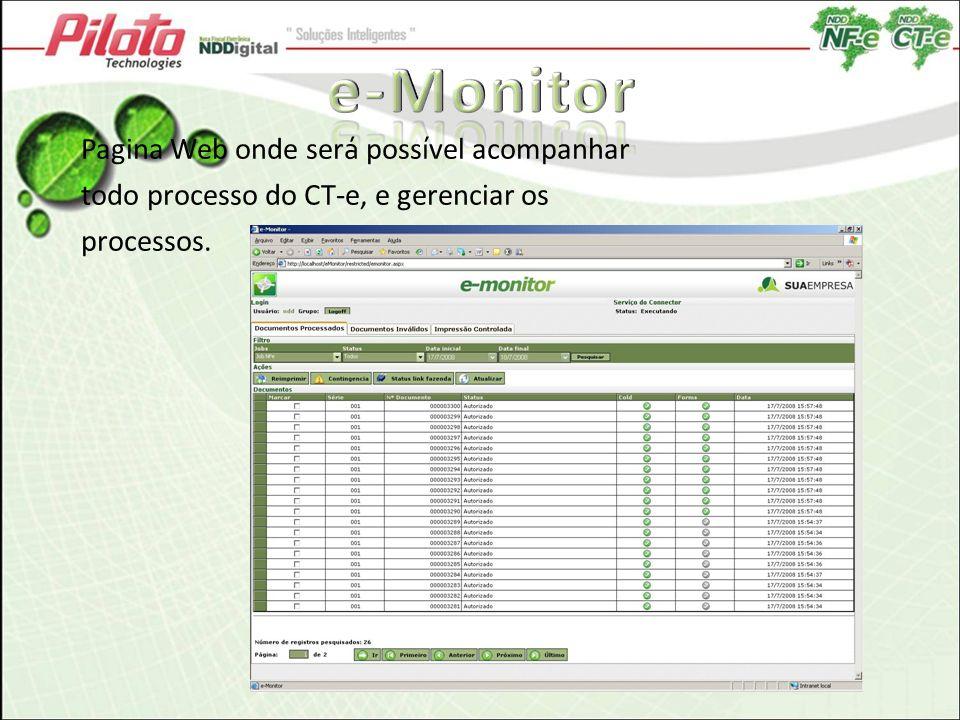 e-Monitor Pagina Web onde será possível acompanhar