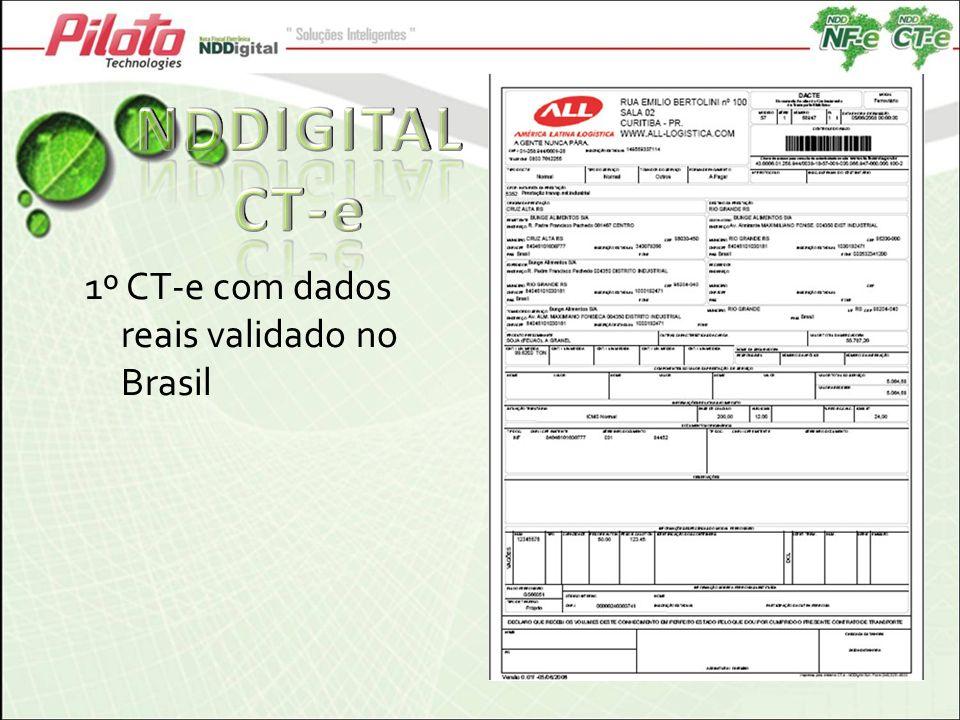 NDDIGITAL CT-e 1º CT-e com dados reais validado no Brasil