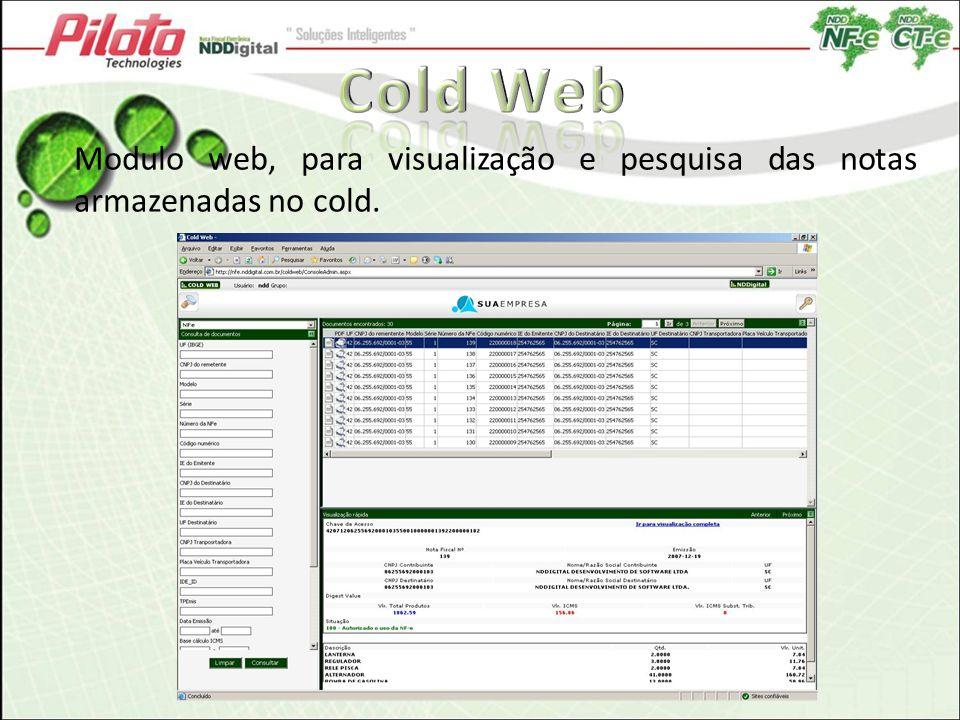 Cold Web Modulo web, para visualização e pesquisa das notas armazenadas no cold.