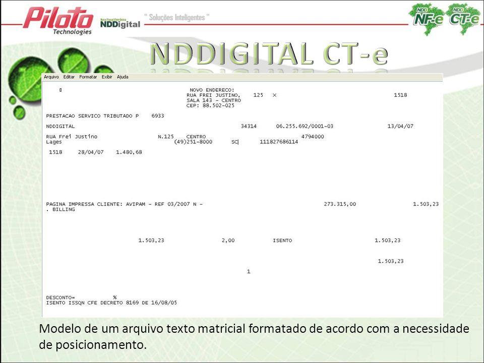 NDDIGITAL CT-e Modelo de um arquivo texto matricial formatado de acordo com a necessidade de posicionamento.