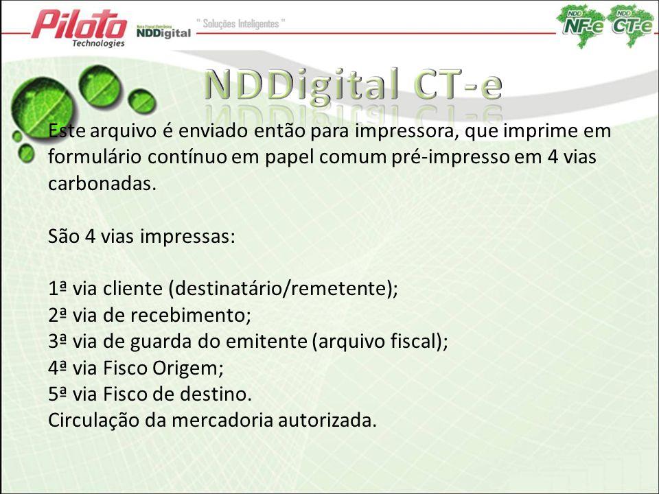NDDigital CT-e Este arquivo é enviado então para impressora, que imprime em formulário contínuo em papel comum pré-impresso em 4 vias carbonadas.