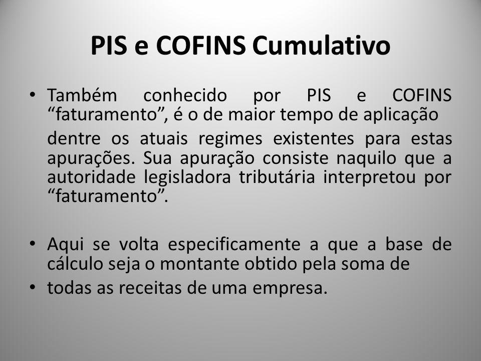 PIS e COFINS Cumulativo