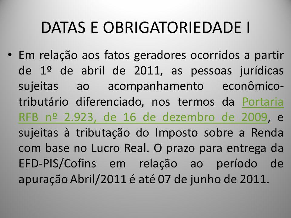 DATAS E OBRIGATORIEDADE I