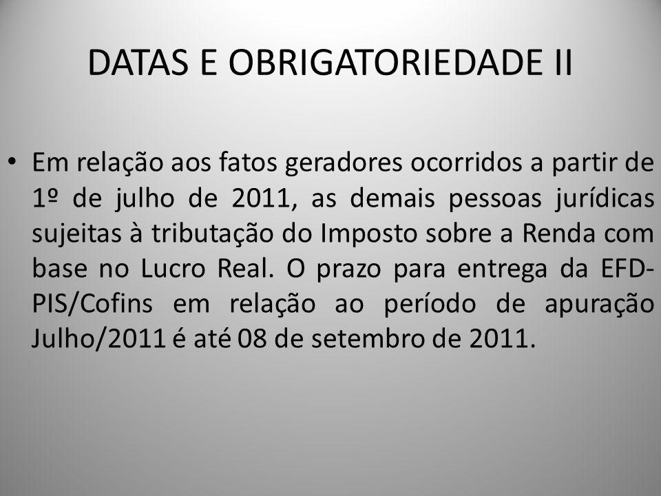 DATAS E OBRIGATORIEDADE II