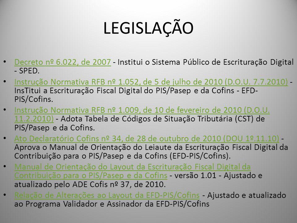 LEGISLAÇÃO Decreto nº 6.022, de 2007 - Institui o Sistema Público de Escrituração Digital - SPED.