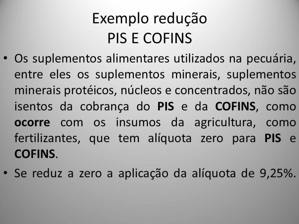 Exemplo redução PIS E COFINS