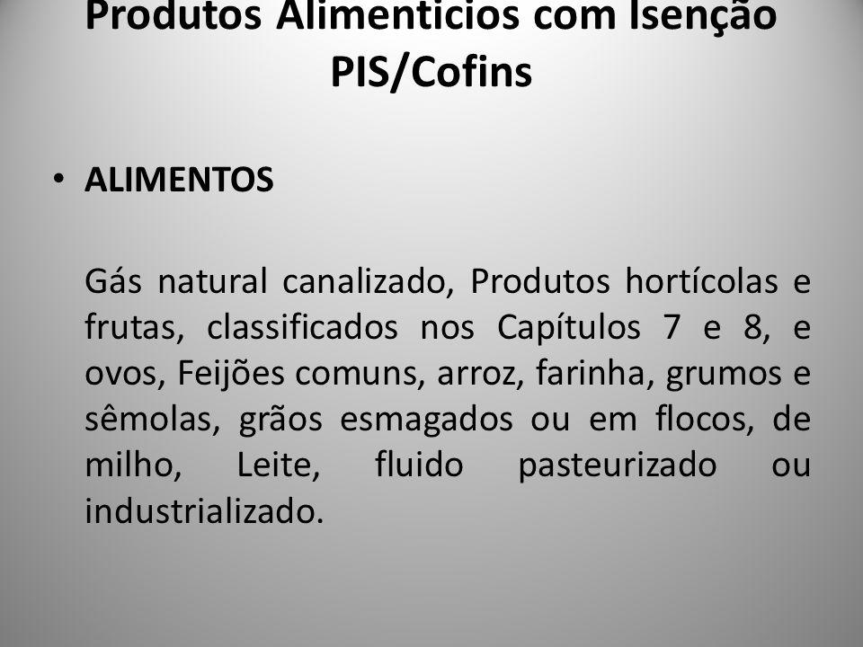 Produtos Alimenticios com Isenção PIS/Cofins