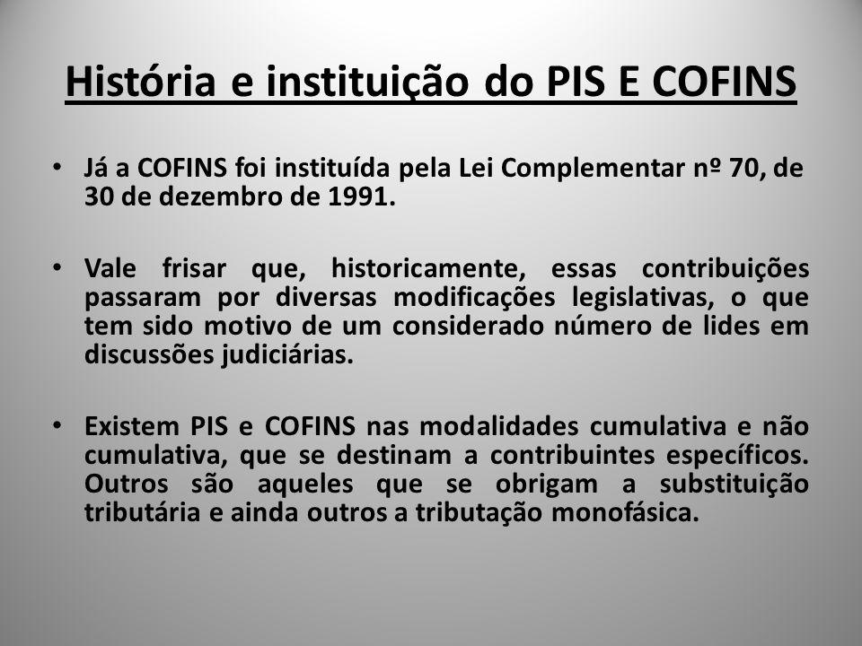 História e instituição do PIS E COFINS