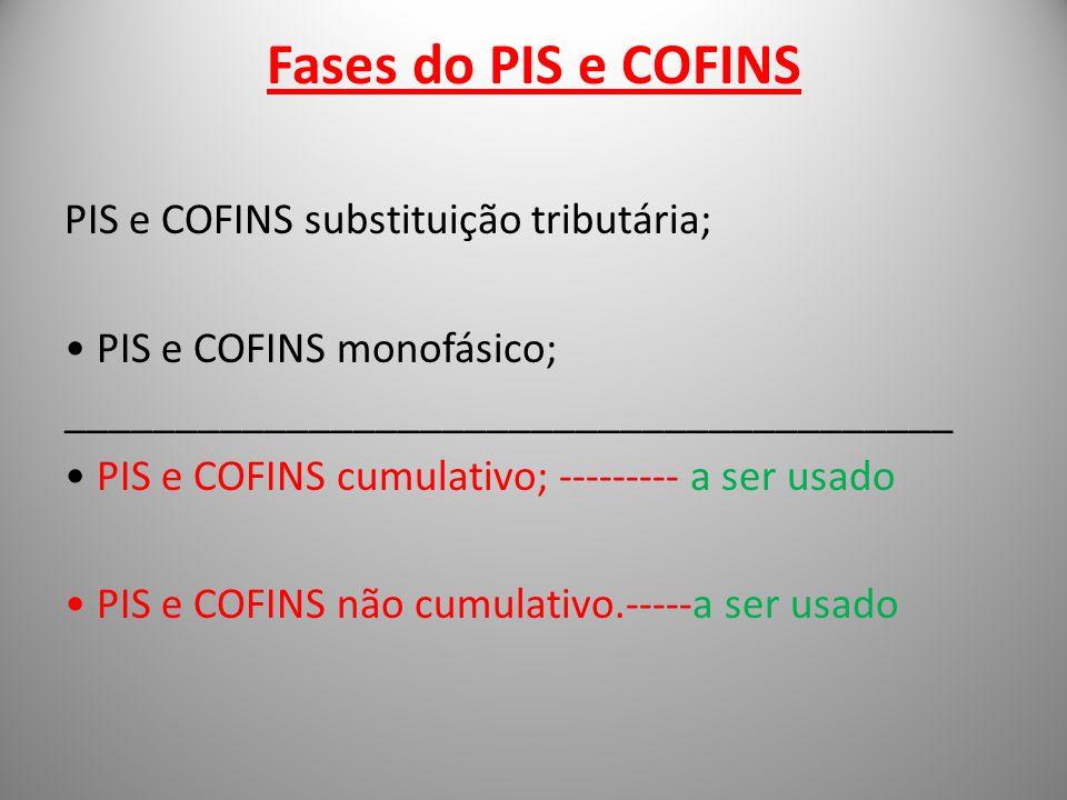 Fases do PIS e COFINS PIS e COFINS substituição tributária;