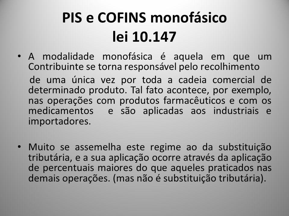 PIS e COFINS monofásico lei 10.147