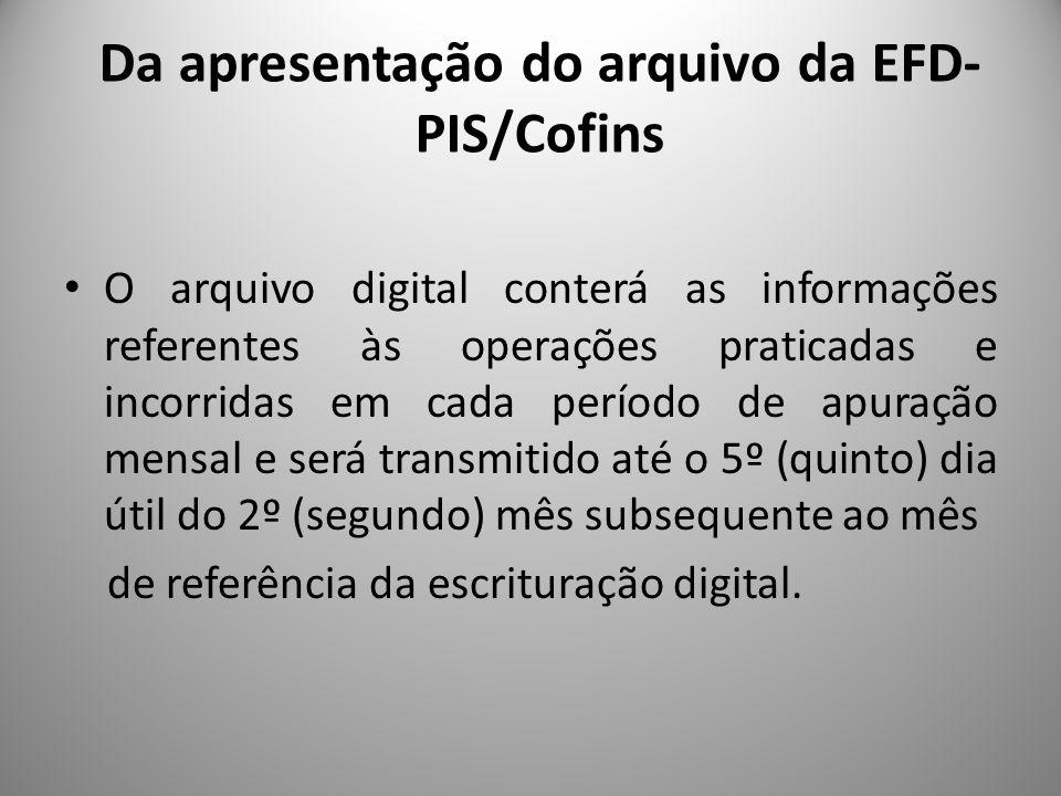 Da apresentação do arquivo da EFD-PIS/Cofins