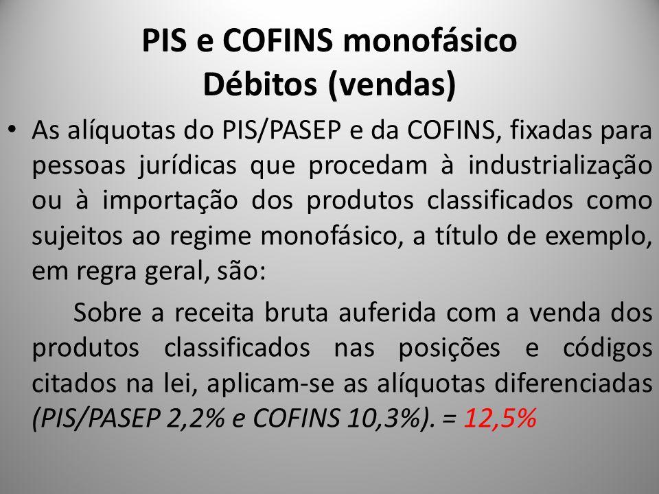 PIS e COFINS monofásico Débitos (vendas)
