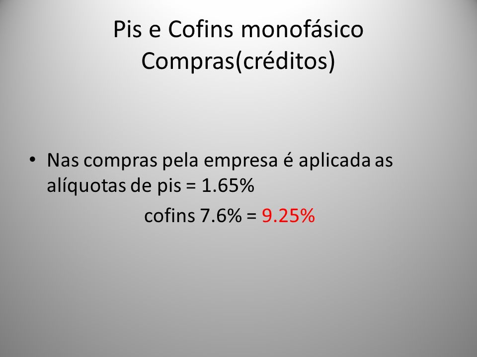 Pis e Cofins monofásico Compras(créditos)