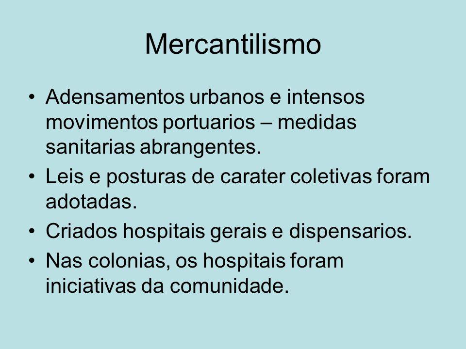 Mercantilismo Adensamentos urbanos e intensos movimentos portuarios – medidas sanitarias abrangentes.