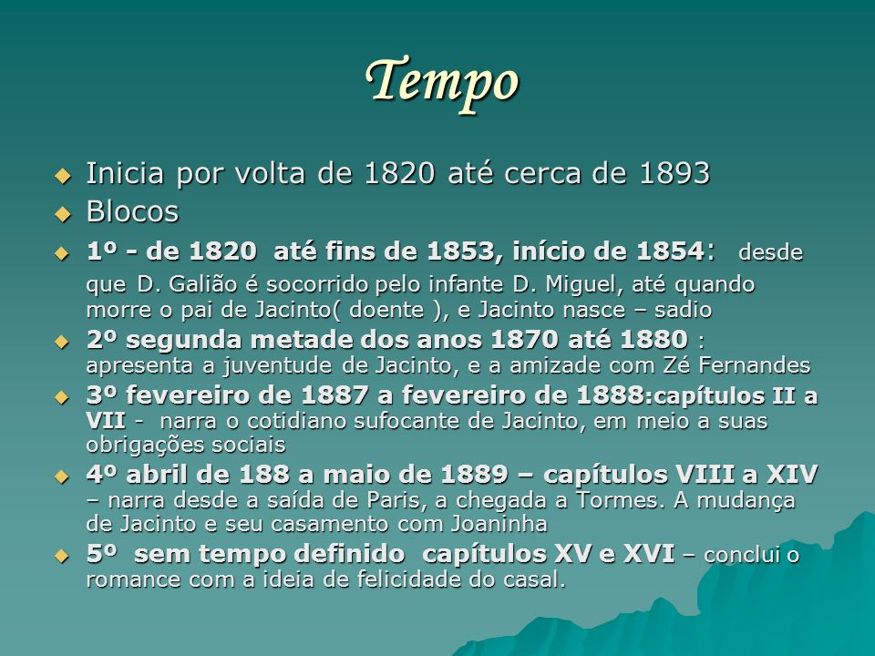 Tempo Inicia por volta de 1820 até cerca de 1893 Blocos