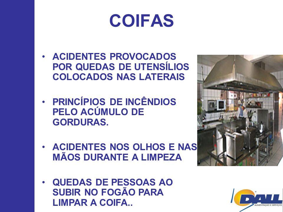 COIFAS ACIDENTES PROVOCADOS POR QUEDAS DE UTENSÍLIOS COLOCADOS NAS LATERAIS. PRINCÍPIOS DE INCÊNDIOS PELO ACÚMULO DE GORDURAS.