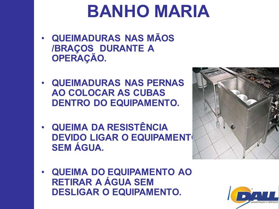 BANHO MARIA QUEIMADURAS NAS MÃOS /BRAÇOS DURANTE A OPERAÇÃO.