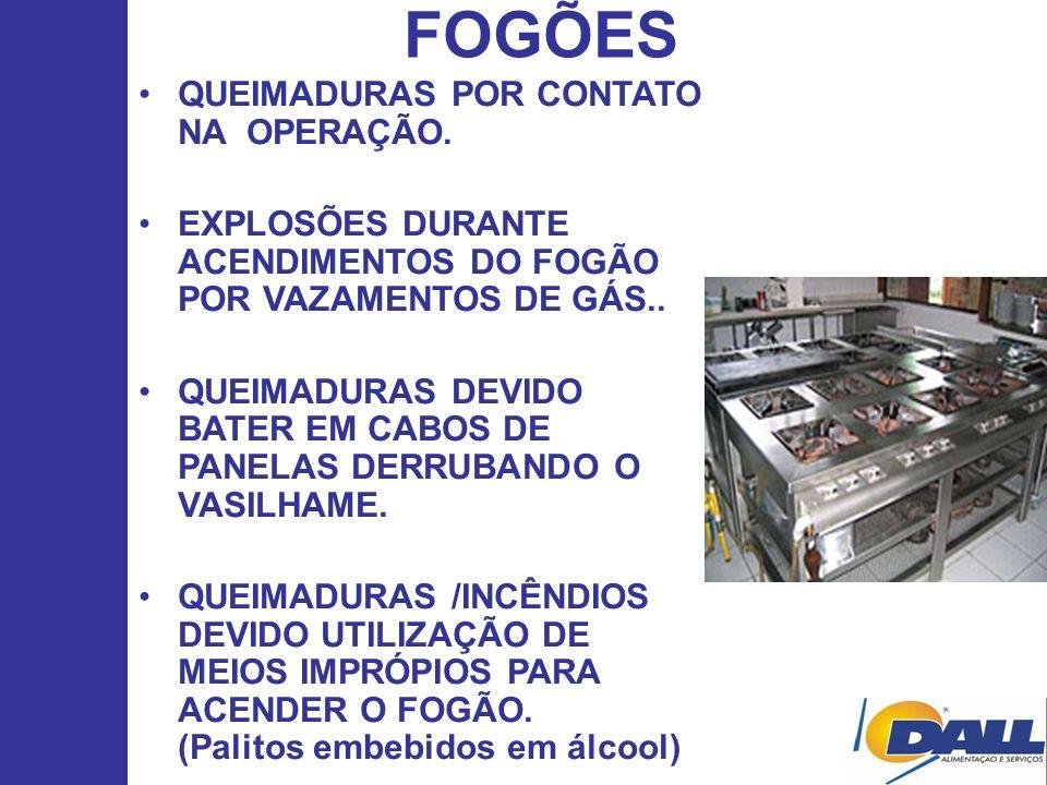 FOGÕES QUEIMADURAS POR CONTATO NA OPERAÇÃO.