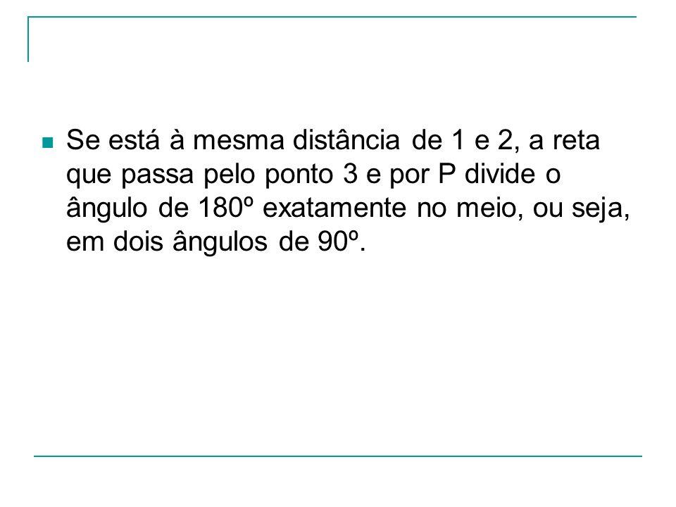 Se está à mesma distância de 1 e 2, a reta que passa pelo ponto 3 e por P divide o ângulo de 180º exatamente no meio, ou seja, em dois ângulos de 90º.