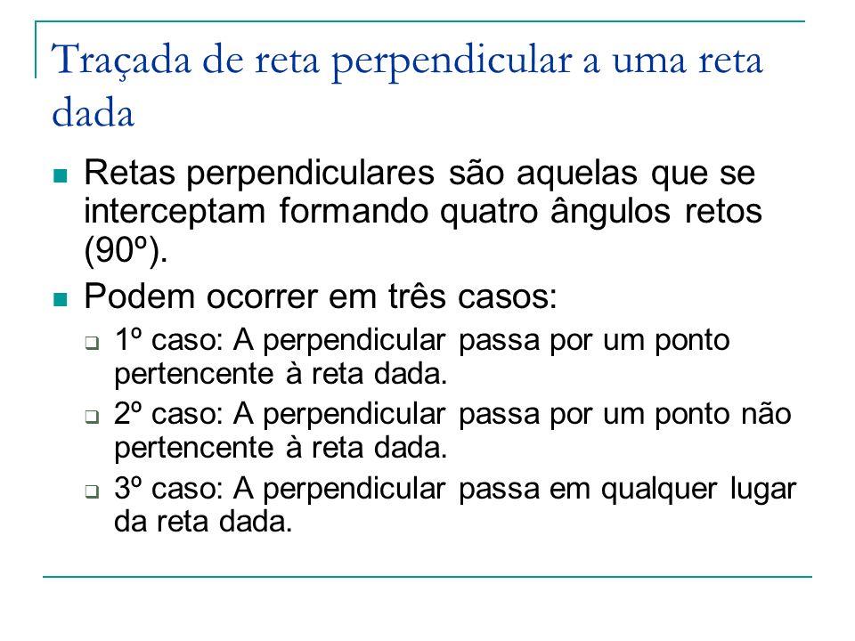 Traçada de reta perpendicular a uma reta dada