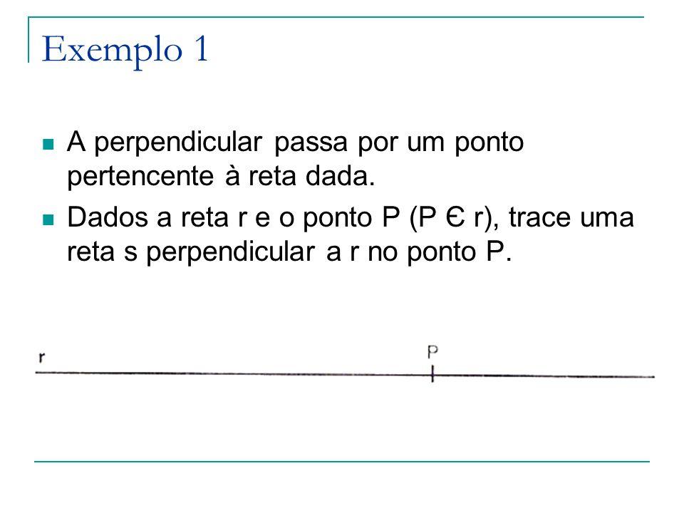 Exemplo 1 A perpendicular passa por um ponto pertencente à reta dada.