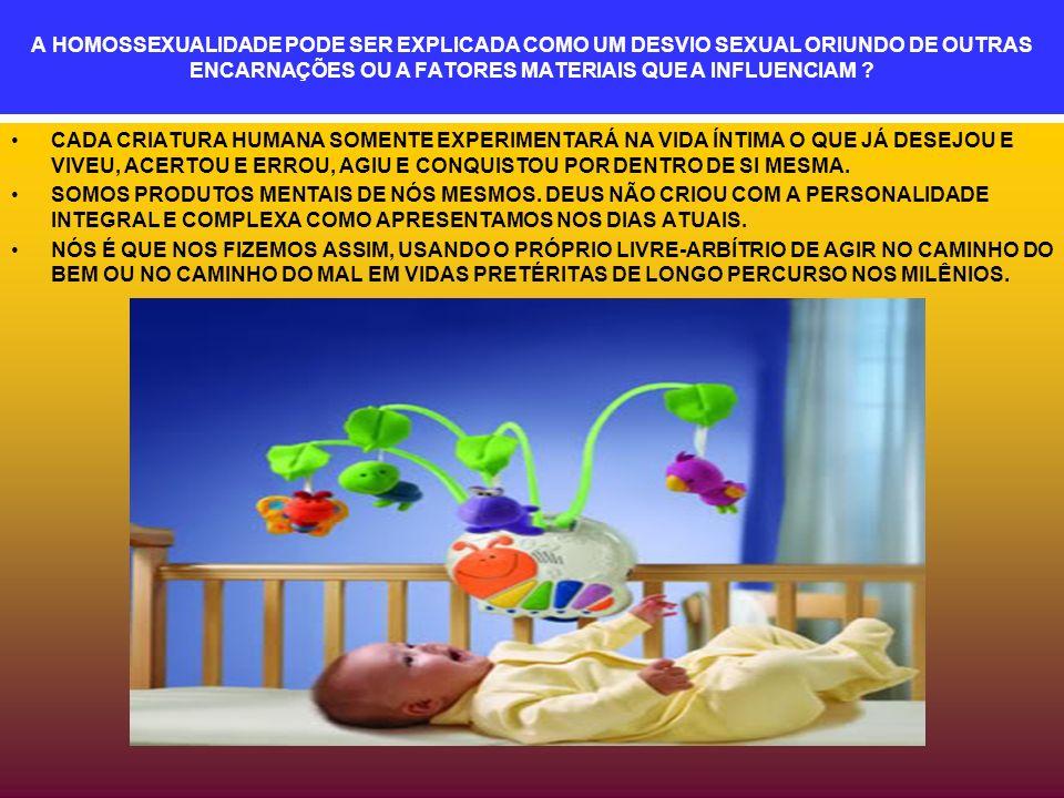 A HOMOSSEXUALIDADE PODE SER EXPLICADA COMO UM DESVIO SEXUAL ORIUNDO DE OUTRAS ENCARNAÇÕES OU A FATORES MATERIAIS QUE A INFLUENCIAM