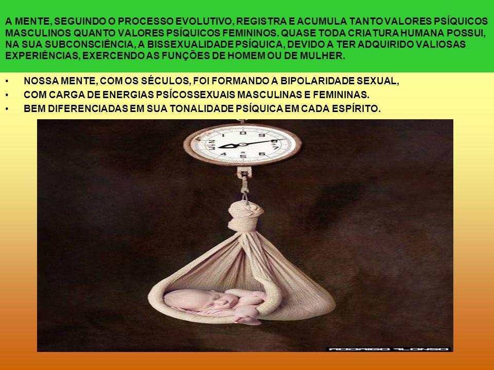 A MENTE, SEGUINDO O PROCESSO EVOLUTIVO, REGISTRA E ACUMULA TANTO VALORES PSÍQUICOS MASCULINOS QUANTO VALORES PSÍQUICOS FEMININOS. QUASE TODA CRIATURA HUMANA POSSUI, NA SUA SUBCONSCIÊNCIA, A BISSEXUALIDADE PSÍQUICA, DEVIDO A TER ADQUIRIDO VALIOSAS EXPERIÊNCIAS, EXERCENDO AS FUNÇÕES DE HOMEM OU DE MULHER.
