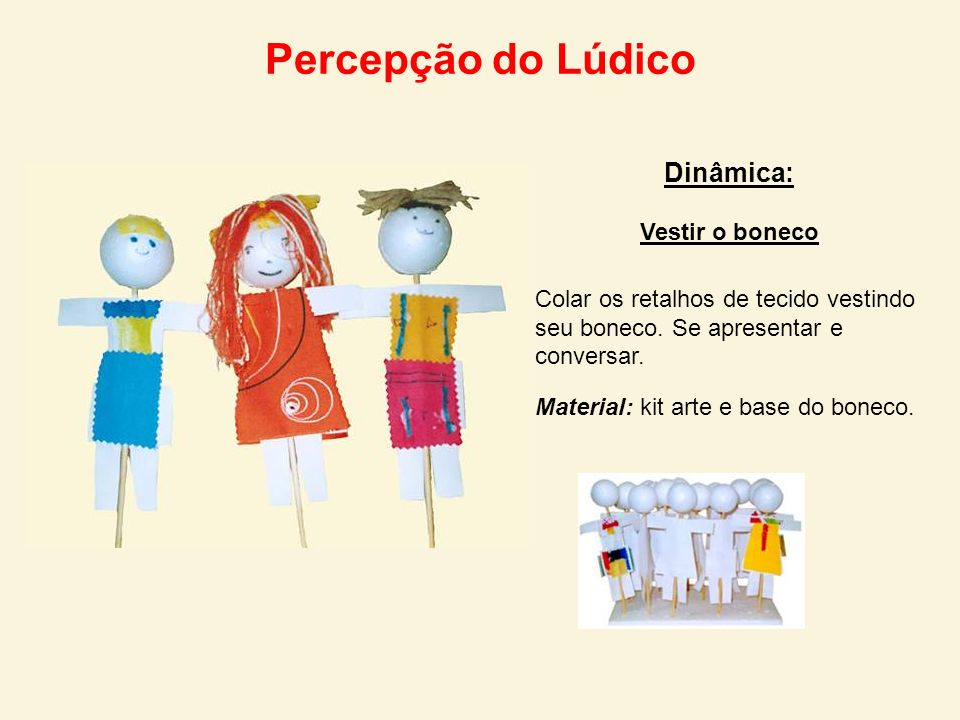 Percepção do Lúdico Dinâmica: Vestir o boneco
