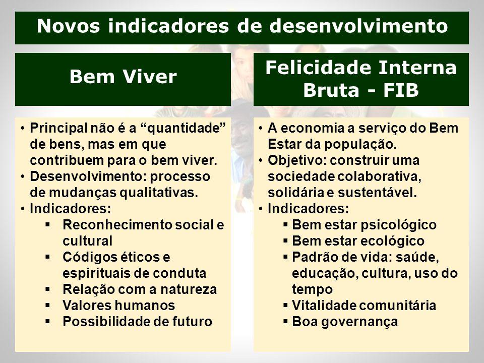 Novos indicadores de desenvolvimento Felicidade Interna Bruta - FIB