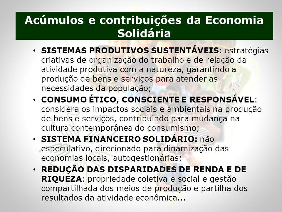 Acúmulos e contribuições da Economia Solidária