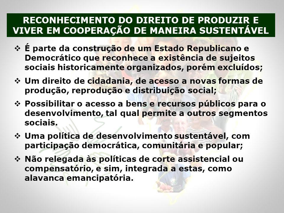 RECONHECIMENTO DO DIREITO DE PRODUZIR E VIVER EM COOPERAÇÃO DE MANEIRA SUSTENTÁVEL