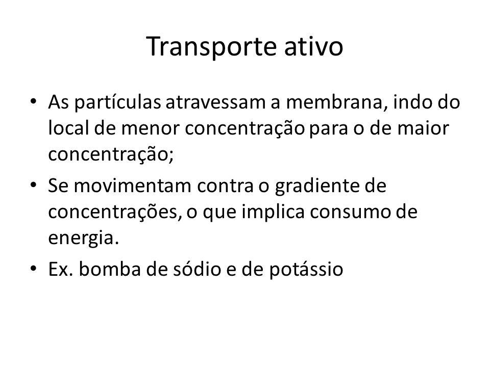 Transporte ativo As partículas atravessam a membrana, indo do local de menor concentração para o de maior concentração;