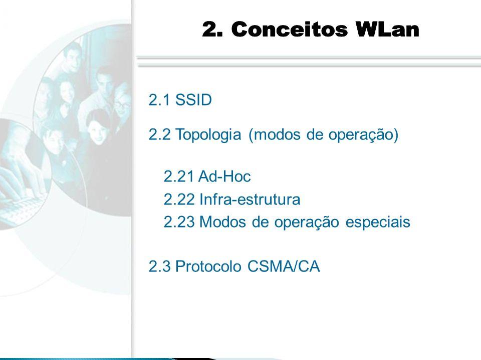 2. Conceitos WLan 2.1 SSID. 2.2 Topologia (modos de operação) 2.21 Ad-Hoc. 2.22 Infra-estrutura.