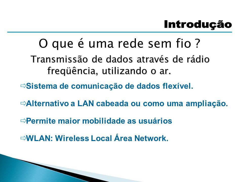 Transmissão de dados através de rádio freqüência, utilizando o ar.