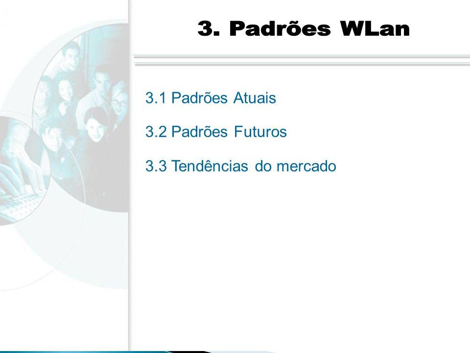 3. Padrões WLan 3.1 Padrões Atuais 3.2 Padrões Futuros 3.3 Tendências do mercado