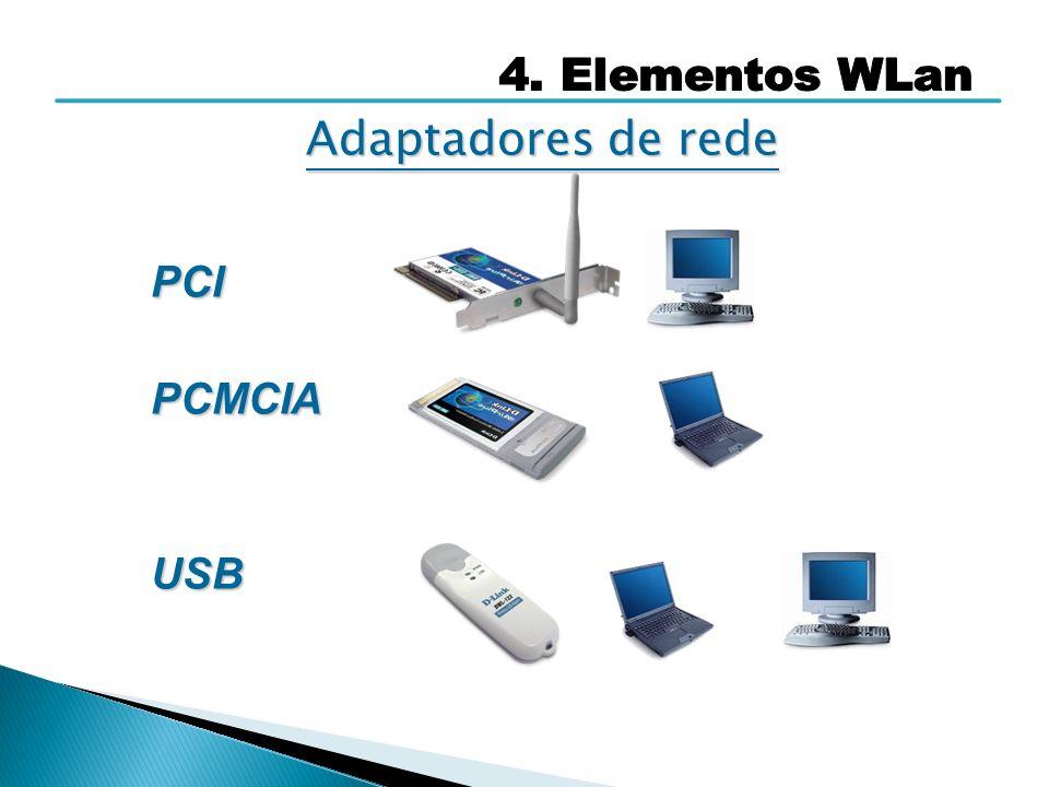 4. Elementos WLan Adaptadores de rede PCI PCMCIA USB