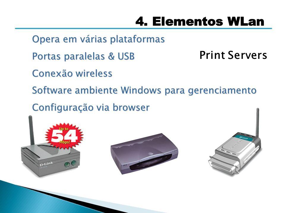 Print Servers 4. Elementos WLan Opera em várias plataformas