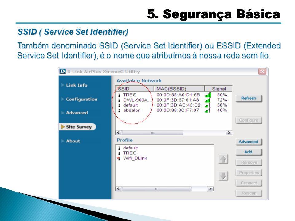 5. Segurança Básica SSID ( Service Set Identifier)