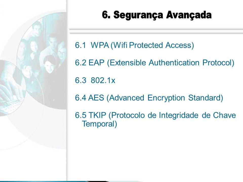 6. Segurança Avançada 6.1 WPA (Wifi Protected Access) 6.2 EAP (Extensible Authentication Protocol)