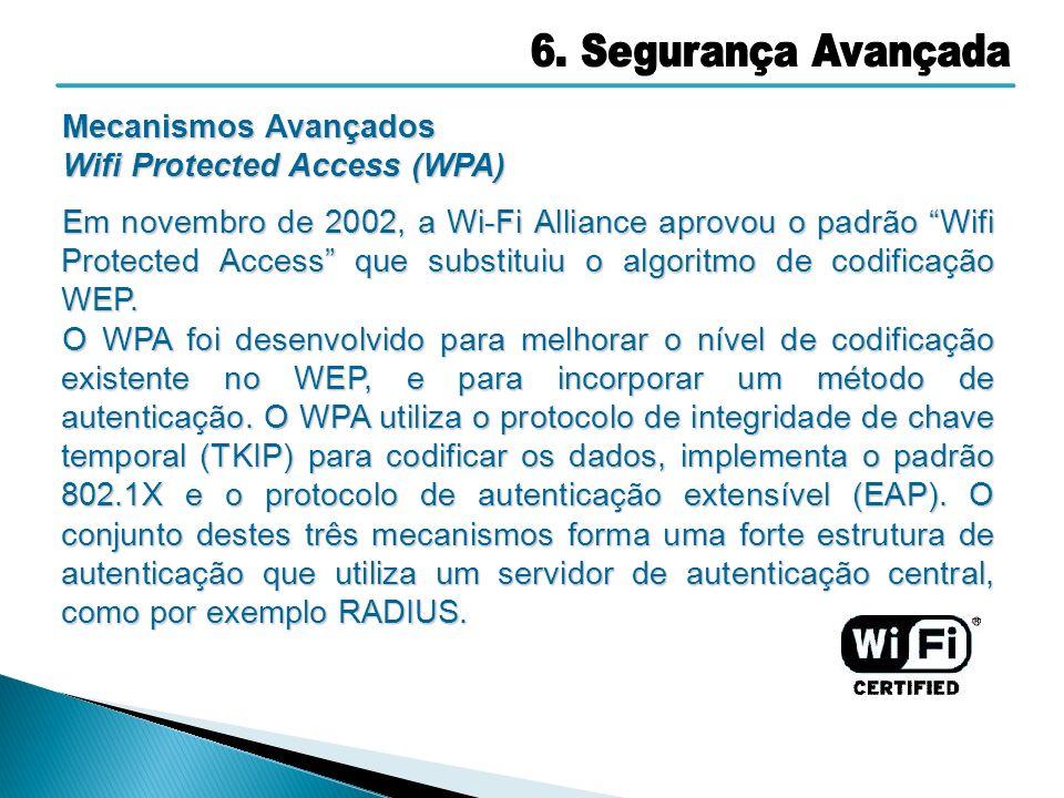 6. Segurança Avançada Mecanismos Avançados Wifi Protected Access (WPA)